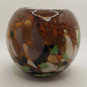 """Art glass Murano round 5"""" colorful splattered mode"""